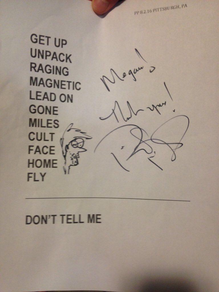 Phillip's set list from last night in Pittsburgh. Photo: Megan Lancaster